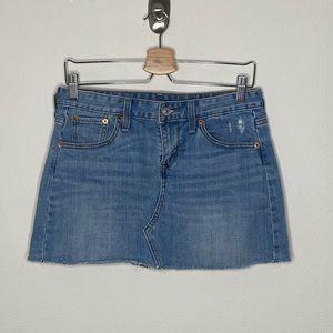 Levi's | High Rise Frayed Denim Jean Skirt Size 2